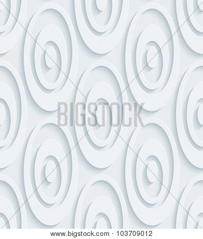 Circles. White perforated paper with cut out effect. 3d seamless background.