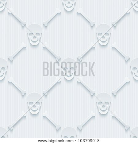 Light perforated paper with cut out effect. 3d skulls and bones seamless background.