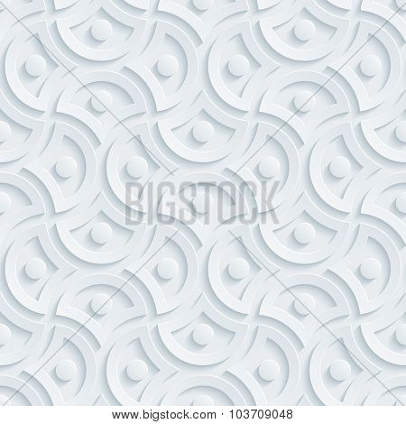 Damask. ight perforated paper with cut out effect. 3d seamless background.