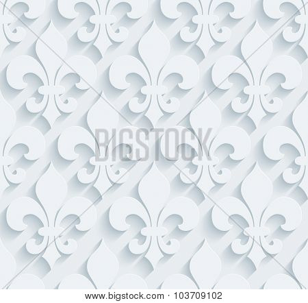 Fleur de lys pattern.  White perforated paper with cut out effect. Abstract 3d seamless background.