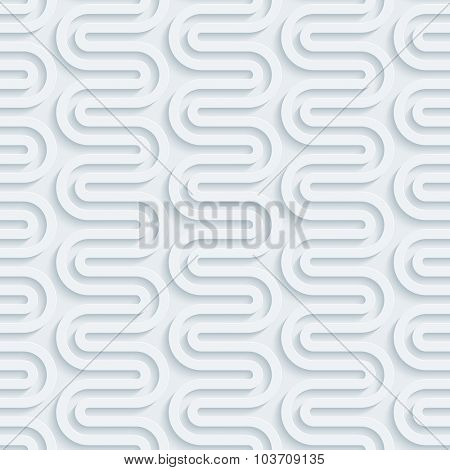 Wavy line. White perforated paper with cut out effect. 3d seamless background.