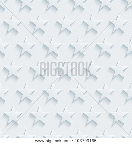 Stars. Light perforated paper with cut out effect. 3d seamless background.