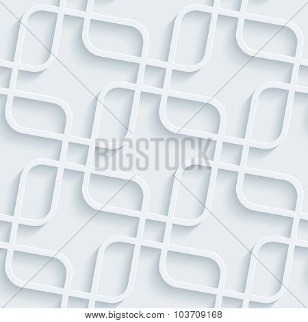 Squares pattern. White perforated paper with cut out effect. Abstract 3d seamless background.