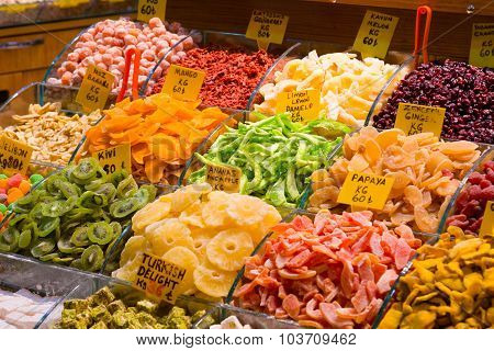 Counter With Various Dried Fruits On The Grand Bazaar In Istanbul, Turkey