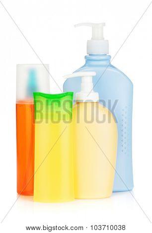 Cosmetics bottles. Isolated on white background