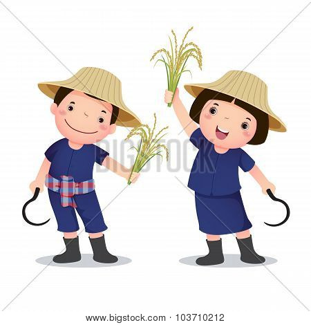 Illustration Of Profession Costume Of Thai Farmer For Kids
