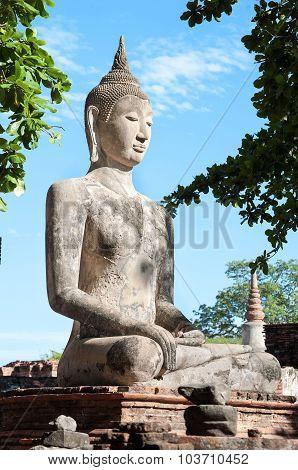 Large Stone Buddha Statue At Wat Mahathat, Ayutthaya, Thailand