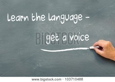 Hand Writing On A Chalkboard Learn The Language, Get A Voice