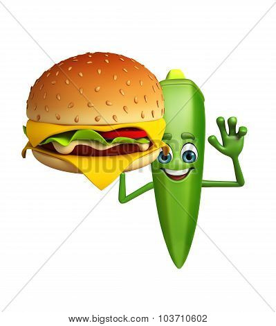 Cartoon Character Of Ladyfinger With Burger