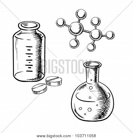 Flask, bottle, pills and molecular model sketch