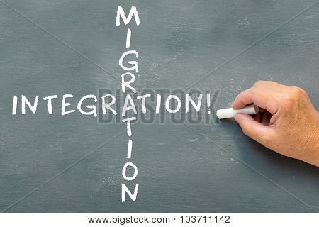 Hand Writing On A Chalkboard Migration And  Integration