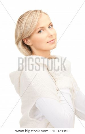 Beautiful Woman In White Sweater