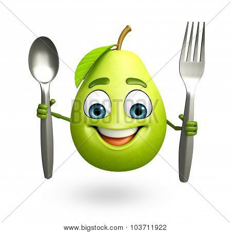 Cartoon Character Of Guava With Spoon