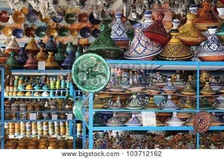 In the ceramics shop in Morocco.
