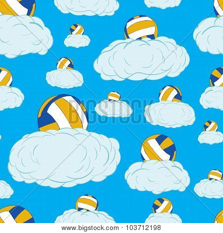 Seamless volleyballs on clouds