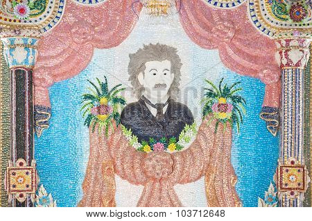 Mosaic Of Albert Einstein On An Interior Wall At Wat Pariwat, Bangkok
