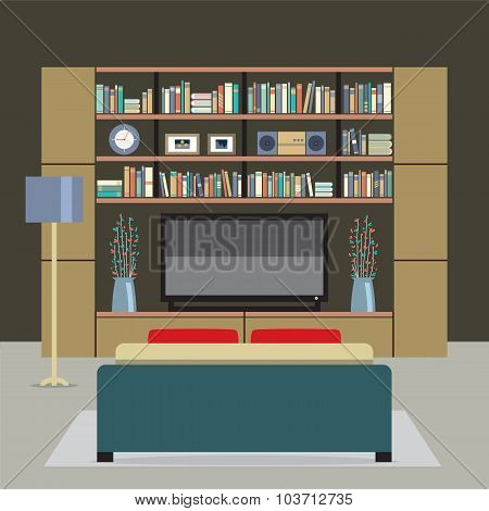 Modern Style Living Room Vector Illustration.