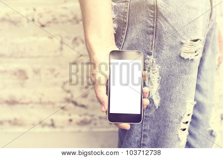 Girl With A Blank Cell Phone, Mock Up