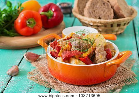 Stewed meat with vegetables