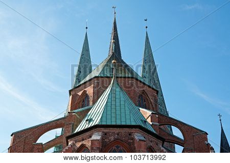Steeples Of St. Mary's Church In Luebeck, Germany
