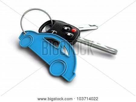 Car Keys With Pink Passenger Vehicle Icon As Keyring.
