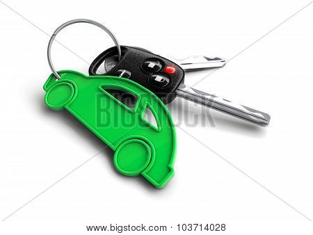 Car Keys With Green Energy Passenger Vehicle Icon As Keyring.