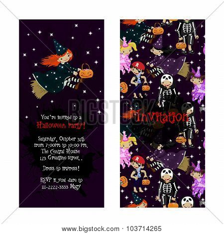Cute invitation for kids Halloween party.