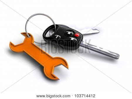 Car Keys With Orange Spanner Icon As Keyring. Car Service And Repair.