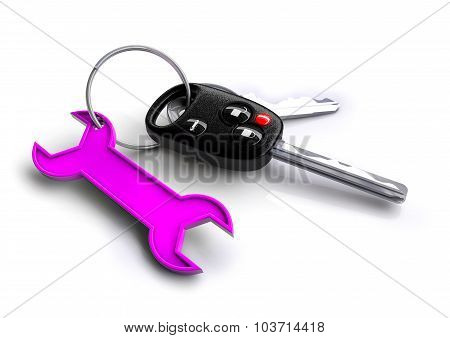 Car Keys With Pink Spanner Icon As Keyring. Car Service And Repair.