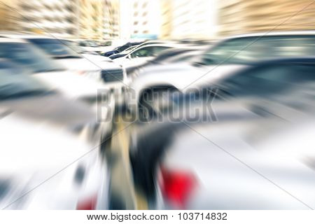 Modern Cars At Parking Lot Of Company Retail Store - Concept Of Transportation And Rental Service