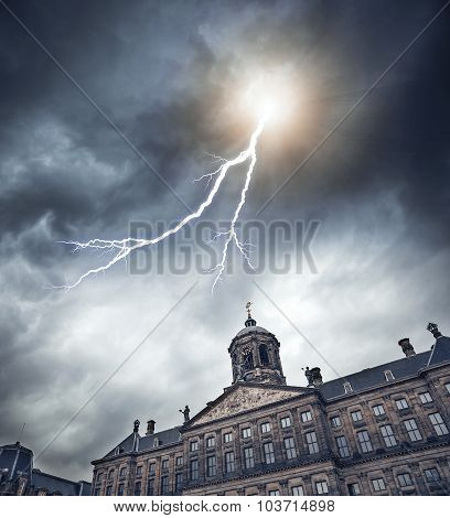 Lightning over the ancient building.