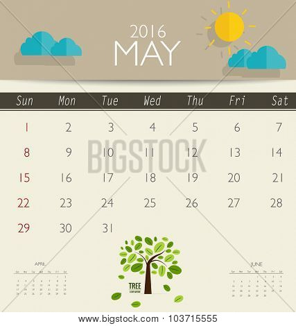 2016 calendar, monthly calendar template for May. Vector illustration.