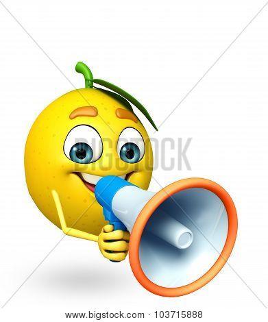 Cartoon Character Of Lemon With Loudspeaker