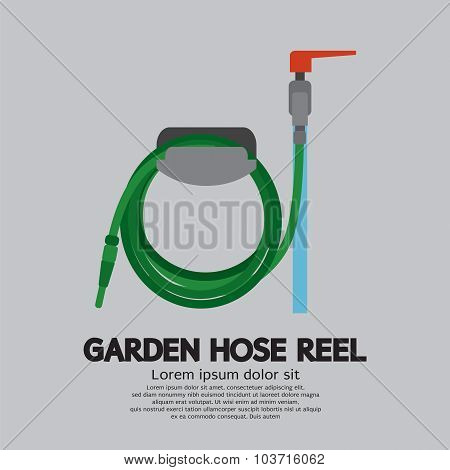 Garden Hose Reel Vector Illustration.