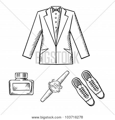 Male formal outfit with jacket, shoes, watch