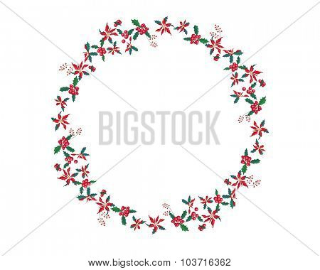 Round Christmas garland with euphorbia pulcherrima isolated on white. For Christmas design, announcements, postcards, posters.