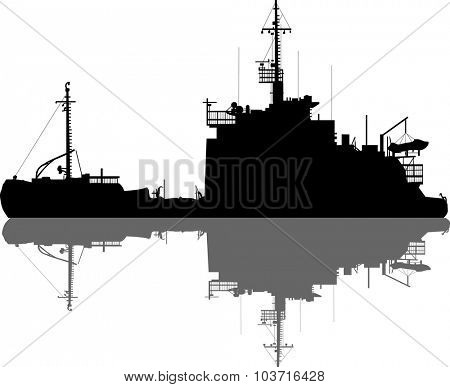 illustration with large ship silhouette and reflection isolated on white background