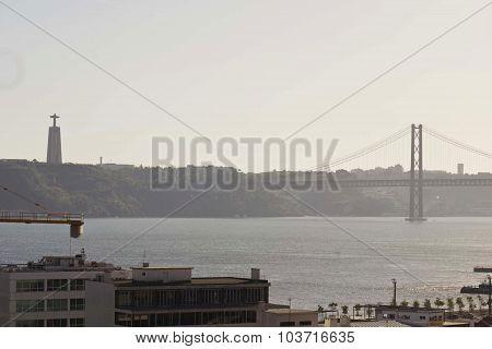 Tagus River And 25Th Of April Bridge