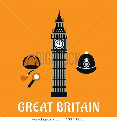 Big Ben tower and other britain objects