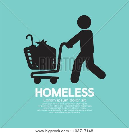 Homeless With Possessions Cart Symbol Vector Illustration.