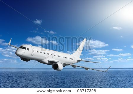 Passenger Airplane Flying Over Sea
