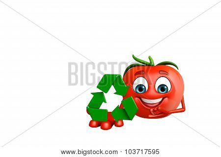 Cartoon Character Of  Tomato Fruit With Recycling Icon