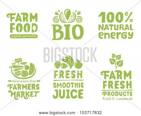 Set of organic writings, labels and icons for natural food