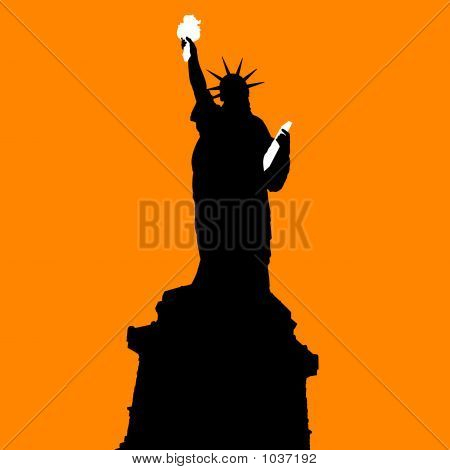 Statue Of Liberty On Orange