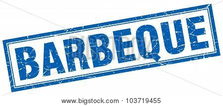 Barbeque Blue Square Grunge Stamp On White