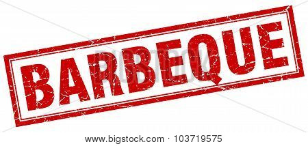 Barbeque Red Square Grunge Stamp On White