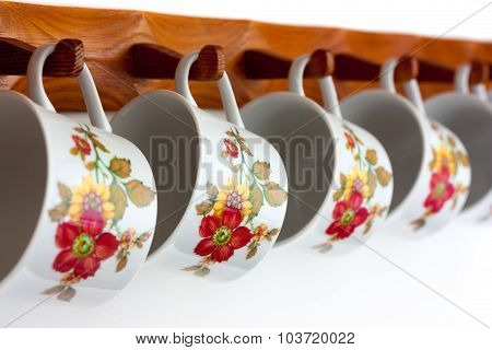 Wooden Shelves With Dishes
