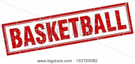 Basketball Red Square Grunge Stamp On White