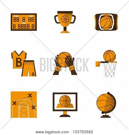 Flat style basketball orange vector icons