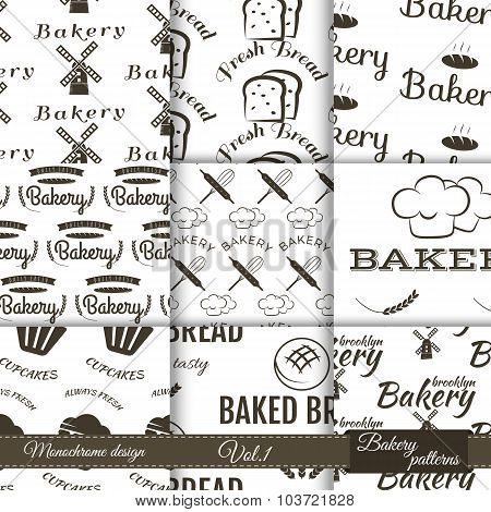 Set of bakery seamless patterns. Vector bake backgrounds with cooking elements. Fresh bread, dessert